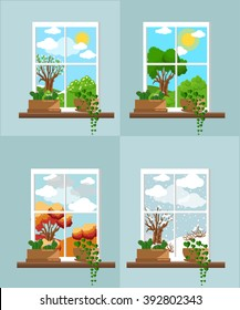 Window in the flat style  Window in different season. Vector flat windows with landscape. Town and skyscraper, forest