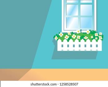Window Flower Box Planters vector illustration background