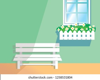 Window Flower Box Planters and white Bench vector illustration landscape