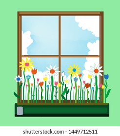 Window and flower box in spring. Vector graphic illustration