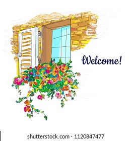 Window and flowers box welcome card, sketchy design. Vector graphic illustration