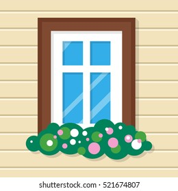 Window with flowers in the house. Street view on plastic wall. Fragment of the home interior. Home window view. Window icon. External window in the building. Flat style vector illustration