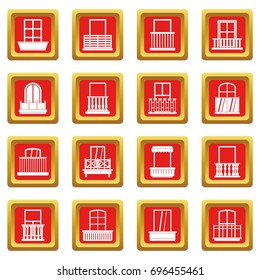 Window forms icons set in red color isolated vector illustration for web and any design