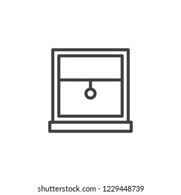 Window frame with louvers outline icon. linear style sign for mobile concept and web design. Window blinds or jalousie simple line vector icon. Symbol, logo illustration. Pixel perfect vector graphics