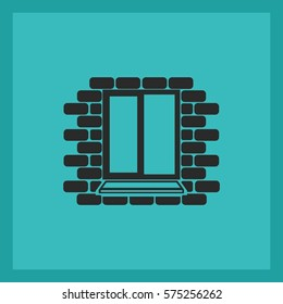 Window frame on the background wall of bricks .Vector.