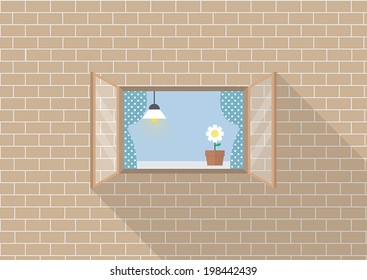 Window frame on brick background, VECTOR, EPS10
