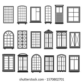 Window frames. Vintage framing windows, blank decorative glass frame construction. Black silhouettes vector abstract wooden architecture set