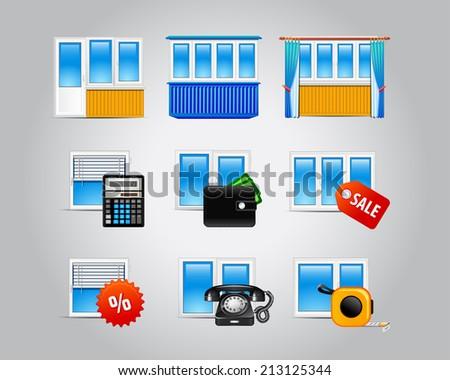 Window Glass Doors Logo List Set Stock Vector Royalty Free