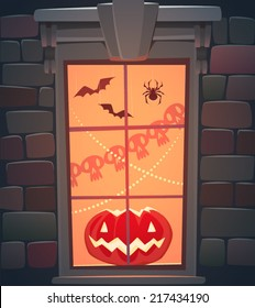 Window. Halloween poster \ background \ card. Vector illustration.