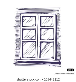 Window. Hand drawn sketch illustration isolated on white background