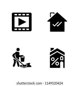 window icon. 4 window vectors with movie player, house and cleaning icons for web and mobile app