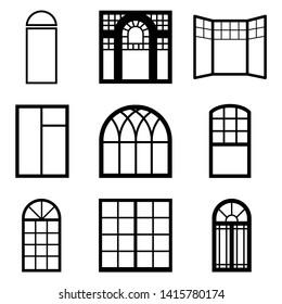 Window icon. Architecture. Black vector
