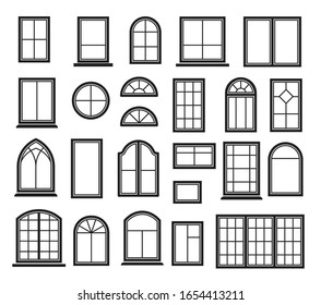 Window icon set. Vector symbol in outline flat style isolated on white background.