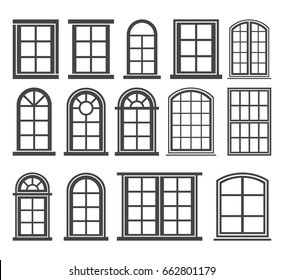 Window icon set, vector symbol in outline flat style isolated on white background.