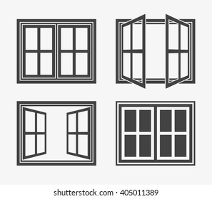 Window Icon in trendy flat style isolated on grey background. Window symbol set for your web site design, logo, app, UI. Vector illustration, EPS10.