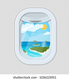 Window from inside the airplane. Aircraft porthole shutter. Tropical island with palm tree in ocean. Air journey or vacation concept. Vector illustration in flat style