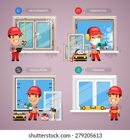 Window Installation Step by Step with Handyman Carpenter. In the EPS file, each element is grouped separately.