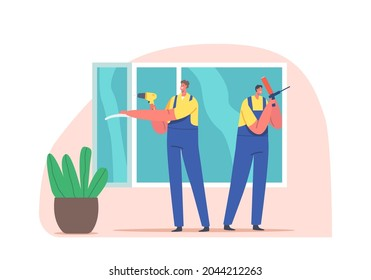 Window Installer Worker Characters House Construction and Carpenter Service, Plastic Window Glass Installation, Home Remodeling, Repair and Renovation Carpentry. Cartoon People Vector Illustration