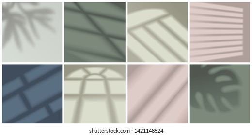 Window light and shadow realistic decorative set isolated vector illustration