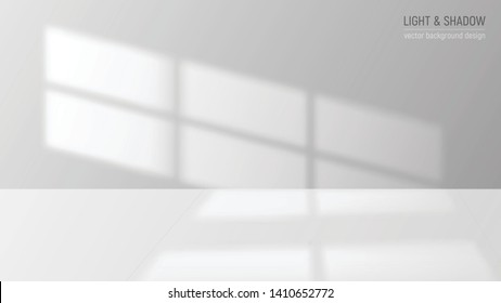 Window light and shadow realistic grey decorative background vector illustration