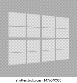 Window light and shadow realistic grey decorative background. Transparent shadow overlay effects for branding. Window frame shadows for natural light effects. Shadow and light from the window. - Shutterstock ID 1476840383