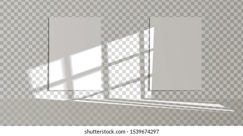 Window light and shadow realistic grey decorative background with vertical paper sheet. Shadows and light from the windows.