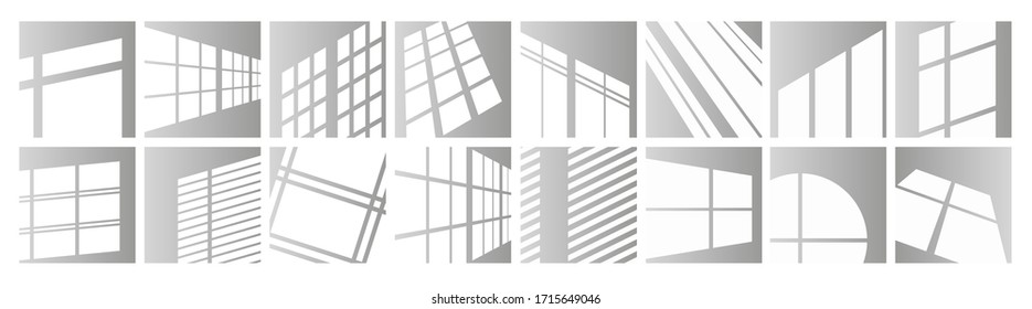 Window light vector illustration set. Sunlight reflection of window frames of square, round shape or in perspective. Day lighting overlay effect on room wall, ceiling or floor mockup design background