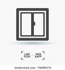 Window minimal vector icon. Casement flat line icon for websites and mobile minimalistic flat design.