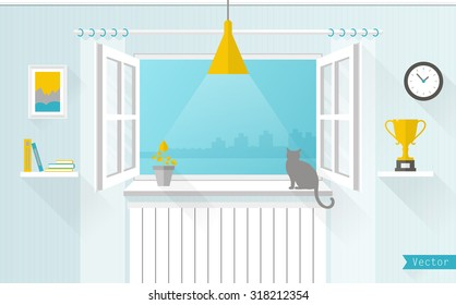 The window overlooking the city. Room in a flat style. Vector illustration.