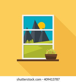 The window overlooking the landscape. Window with plant. Flat style vector illustration.