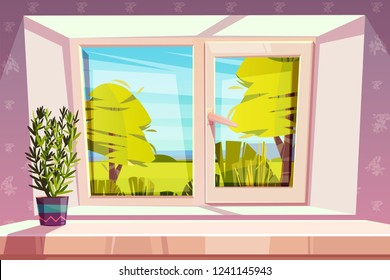 Window overlooking sunny park or meadow and home plant in pot on windowsill cartoon vector illustration. Energy saving, double-glazed window with plastic framing. Cozy and clean place to live concept
