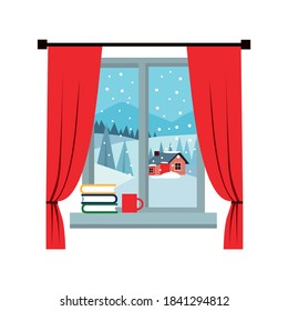 Window overlooking the winter landscape. A books and a coffee cup on the sill. Cartoon flat style. Vector illustration.