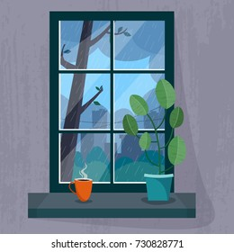 Window with a rainy city view. House plant and cup of tea or coffee on the windowsill. Flat cartoon style vector illustration.