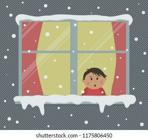 Window with red curtains on a snowy day. A little boy in the room is surprised, looking at the snow. View from the street side. Winter background. Vector illustration.