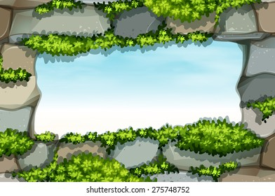 Window rock design frame with green plants