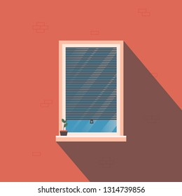 Window with roller blinds on the background of a brick wall with a shadow. There is a solitude  flower on the windowsill. Sunny day. Vector illustration.