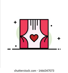 Window, Room, Curtains, Love, Romance  Business Flat Line Filled Icon Vector Banner Template. Vector Icon Template background