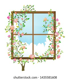 Window and roses flowers card - romantic background. Vector graphic illustration