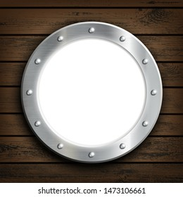 Window round ship porthole on a wooden wall. Vector illustration