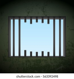 Window with sawn off bars in a prison cell. Jail break. Stock vector illustration