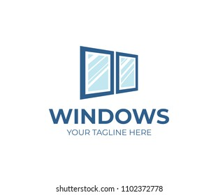 Window services logo template. Window replacement vector design. Window installation logotype
