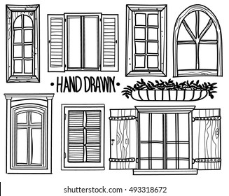 Window. A set of drawings by hand. shuttered windows, open windows, modern and antique windows. drawing in vintage style.