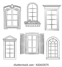 Window set. Windows of different architectural style stylish doodle sketch collection