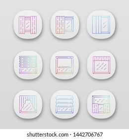 Window shutters app icons set. Roller, roman shades, panel, swags, valance. Motorized jalousie. Home interior shop. UI/UX user interface. Web or mobile applications. Vector isolated illustrations