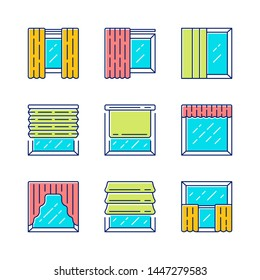 Window shutters color icons set. Roller, roman shades, panel, swags, valance. Motorized jalousie. House and office window decoration. Home interior shop. Isolated vector illustrations