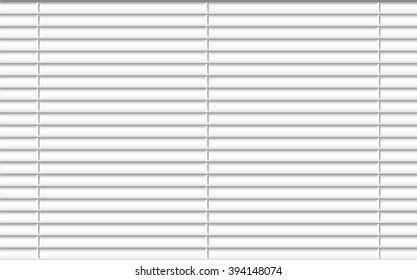 Window shutters. Office interior blinds. Window decor. Horizontal window blind. Vector illustration. Grey window blinds. Office accessories.