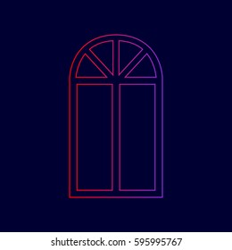 Window simple sign. Vector. Line icon with gradient from red to violet colors on dark blue background.