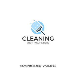 Window squeegee logo template. Wiper window vector design. Cleaning illustration