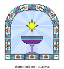 A window stain glass with picture of holy cup and star.