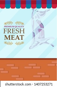 A window of a store selling meat. Editable Clip Art.